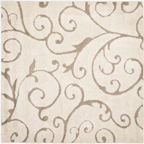 Safavieh Florida Shag Cream/Beige 5 ft. x 5 ft. Square Area Rug