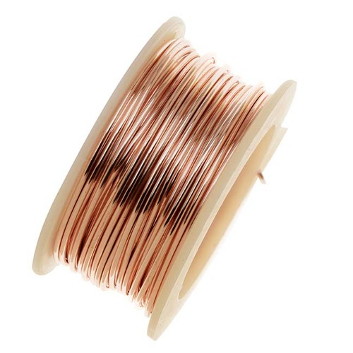 Artistic Wire, Silver Plated Craft Wire 24 Gauge Thick, 10 Yard Spool, Rose Gold Color