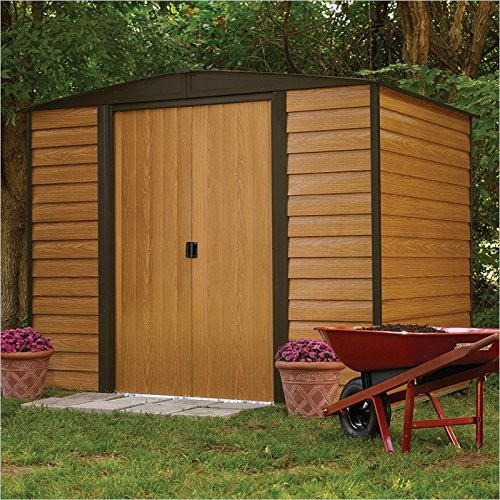 Arrow Storage Woodridge 8' x 6' Storage Shed in Woodgrain and Coffee
