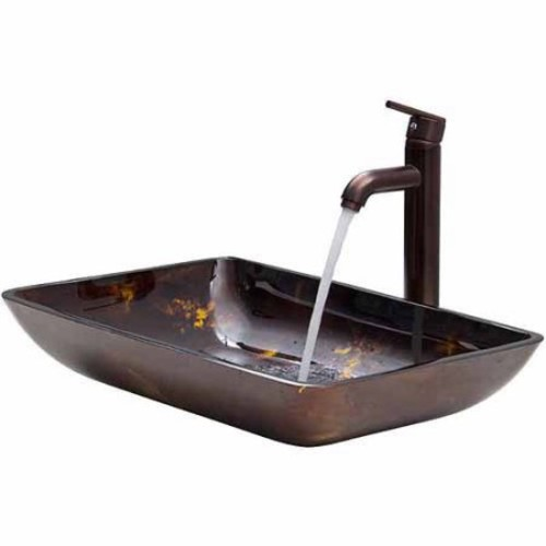 Vigo Rectangular Brown and Gold Fusion Glass Vessel Sink and Faucet Set, Oil Rubbed Bronze