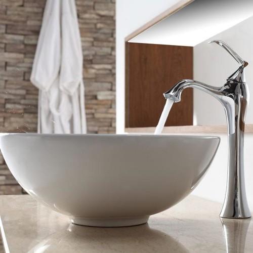 Kraus White Round Ceramic Sink and Ventus Faucet