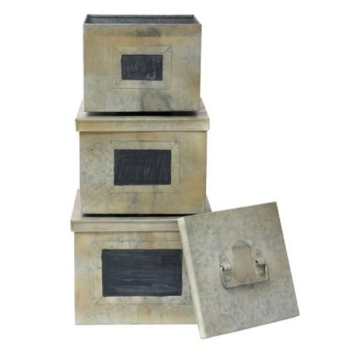 Stonebriar Collection Galvanized & Chalkboard Metal Storage Box 3-piece Set