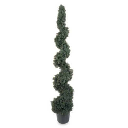 Nearly Natural 5 ft. Indoor Outdoor Cedar Spiral Silk Tree
