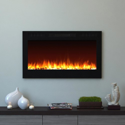 Moda Flame Cynergy 36 in. Pebble Electric Recessed Built-In Fireplace in Black