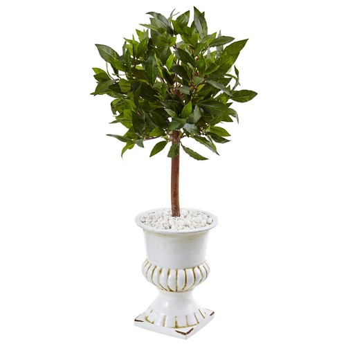 Nearly Natural Indoor Sweet Bay Mini Topiary Artificial Tree in White Urn