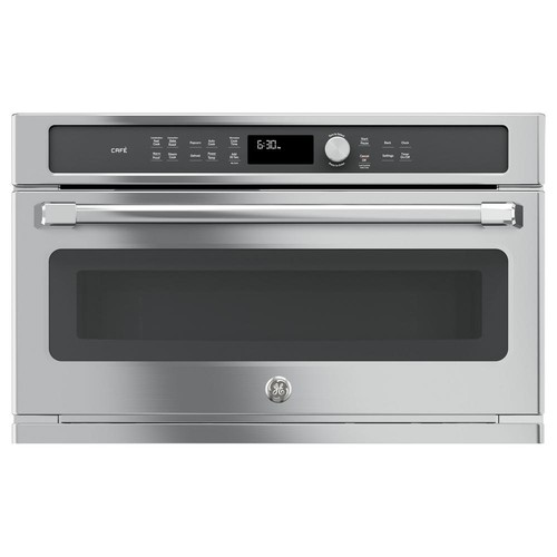 GE Cafe 30 in. Single Electric Convection Wall Oven with Built-In Microwave in Stainless Steel