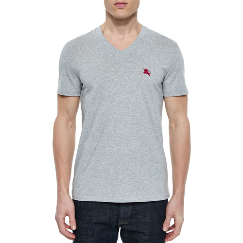 BURBERRY BRIT Lindon Cotton V-Neck T-Shirt, Gray