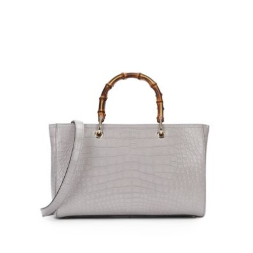 GUCCI Bamboo Medium Crocodile Shopper