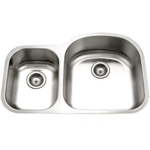 HOUZER Eston Series Undermount Stainless Steel 32 in. 30/70 Double Bowl Kitchen Sink in Satin