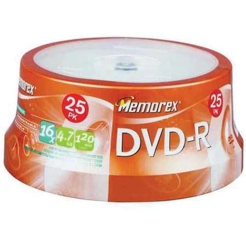Memorex Disk DVD-R (4.7GB) 16x with Spindle, 25 Pack 05638