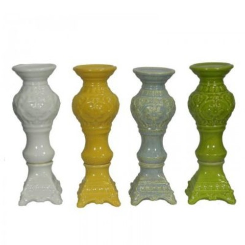 Essential Decor & Beyond Ceramic Candlestick (Set of 4); 13'' H x 4.5'' W x 4.5'' D