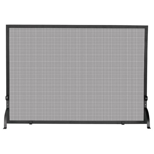 UniFlame Single-Panel Iron Fire Place Screen w Black Frame & Curved Legs