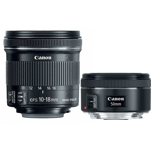 Canon Portrait & Travel Two Lens Kit EF 50mm f/1.8 STM and EF-S 10-18mm f/4.5-5.6 IS STM lenses for Canon EOS DSLR cameras