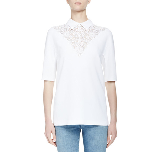 STELLA MCCARTNEY Half-Sleeve Lace-Yoke Top, White