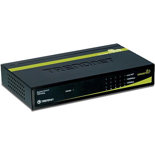 TRENDnet 5-Port Unmanaged Gigabit GREENnet Desktop Metal Housing Switch, 10 Gbps Switching Fabric, TEG-S50g