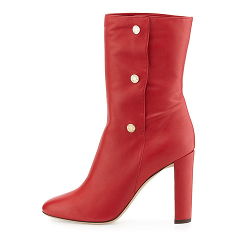 JIMMY CHOO Dayno Leather Mid-Calf Boot, Red