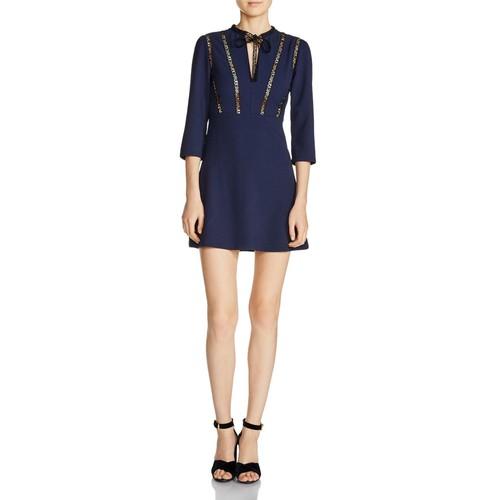 "MAJE Remala ""Amour"" Lettering Detail A-Line Mini Dress"