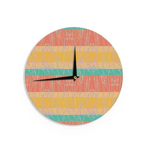 KESS InHouse Vasare Nar 'New Wave Zebra' Pattern Pink Wall Clock