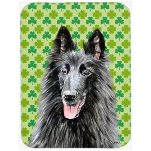 Shamrock Lucky Irish Belgian Sheepdog St. Patrick's Day Portrait Glass Cutting Board