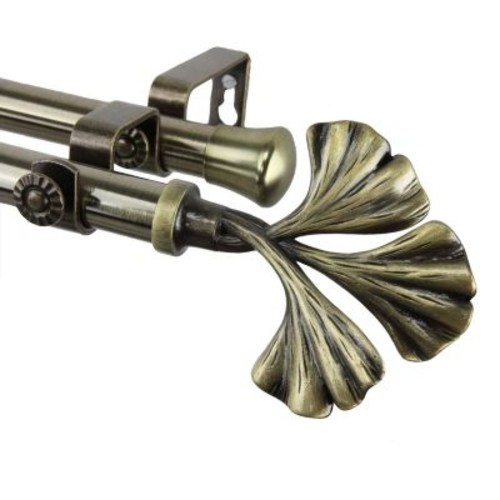 Rod Desyne Fortune Double Curtain Rod 48-84 inch - Antique Brass