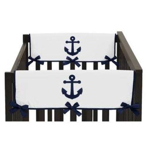 Sweet Jojo Designs Side Crib Rail Guard Covers for Anchors Away Collection (Set of 2)