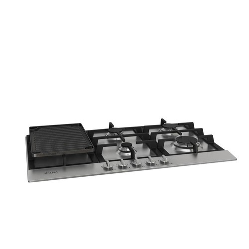 Ancona 34 in. Gas Cooktop in Stainless Steel with 5 Burners including Cast Iron Griddle