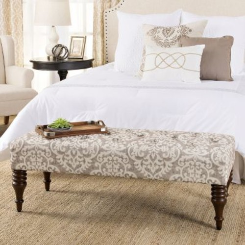 HomePop Taylor Tufted Decorative Bench Natural