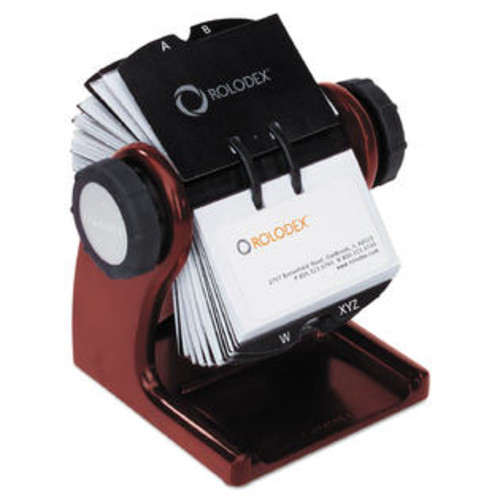 Rolodex Wood Tones Open Rotary Business Card File Holds 400 2 5/8 x 4 Cards Mahogany