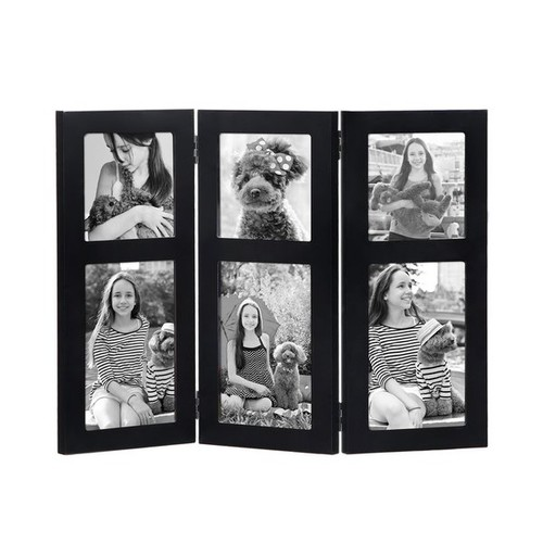 Adeco 6-Opening Black Wood Hinged Folding Table Desk Top 4 x 6-inch Photo Frame Collages