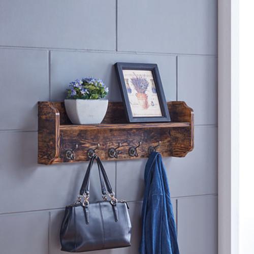 Danya B. Utility Wall Shelf with Hooks - Aged Wood