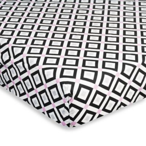 Jonathan Adler Crafted by Fisher-Price Diamond Fitted Crib Sheet in Pink/Black