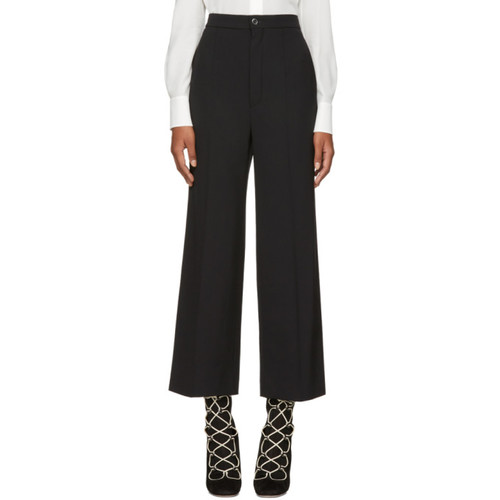 CHLOÉ Black Classic Crop Flared Trousers