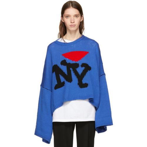 RAF SIMONS Blue Oversize 'I Love Ny' Sweater