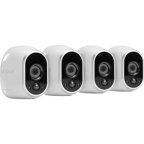 NETGEAR - Arlo Smart Home Indoor/Outdoor Wireless High-Definition Security Cameras (4-Pack) - White/Black