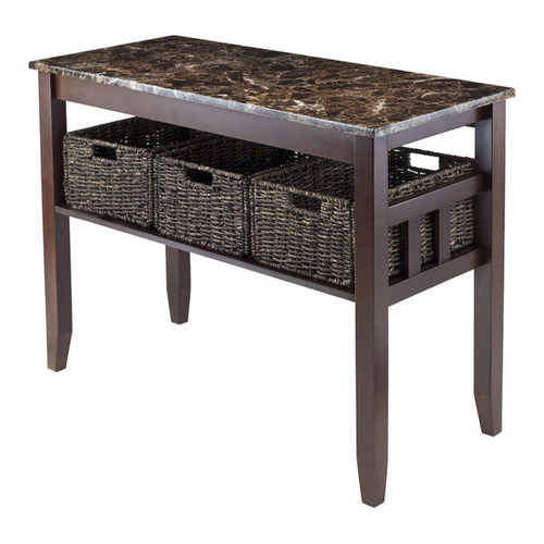 Winsome Zoey Brown Wood Faux Marble Top Console Coffee Table With 3 Baskets