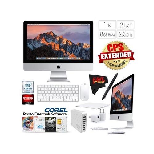 Apple iMac MMQA2LL/A 21.5 Inch, 2.3GHz Intel Core i5, 8GB RAM, 1TB HDD, (Silver) 2017 Model + 7 Port USB Hub (White) + Travel USB 5V Wall Charger for iPhone/iPad (White) Bundle