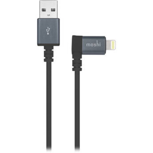 USB Type-A Male to Angled Lightning Male Cable (5', Black)