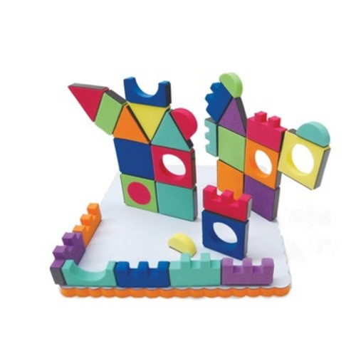 Edushape Magic Shapes Magnetic Foam Building Blocks, 54 Piece