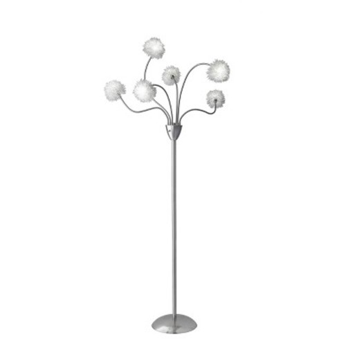 Adesso Pom Pom 68 in. Satin Steel Floor Lamp