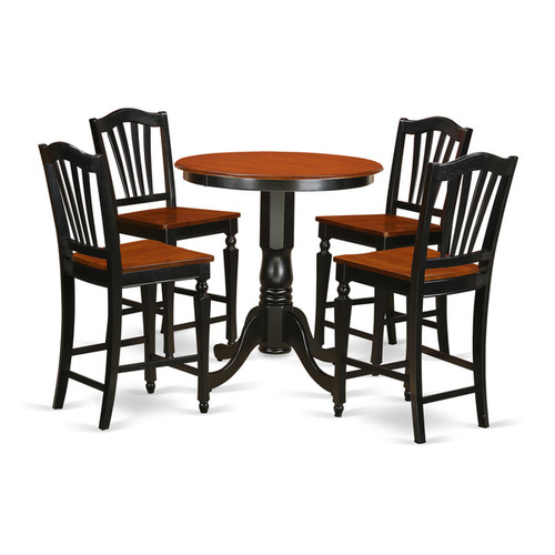 Black Finish Solid Wood Five-piece Kitchen Counter-height Table Set [option : Microfiber]