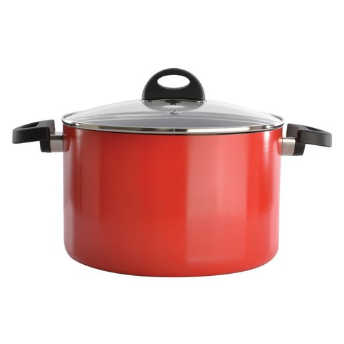 BergHOFF Eclipse 7 Qt. Aluminum Non-Stick Red Stock Pot with Lid