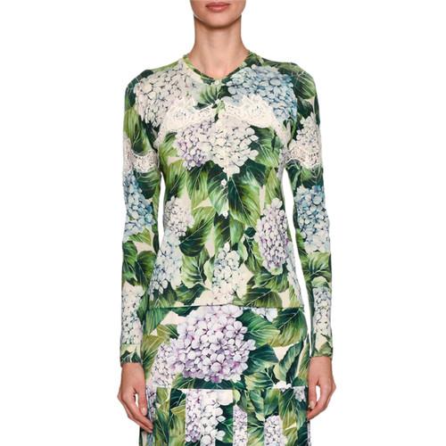 DOLCE & GABBANA Hydrangea-Print Cardigan, Green Pattern