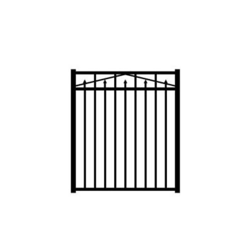 Allure Aluminum Provincial 4 ft. W x 4.5 ft. H Black Aluminum 3-Rail Fence Gate