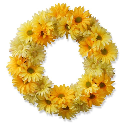 National Tree Company 19 in. Garden Accents Yellow Cosmos Wreath