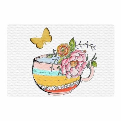 East Urban Home Jennifer Rizzo Tea Cup Vase Vintage Yellow Area Rug; 4' x 6'