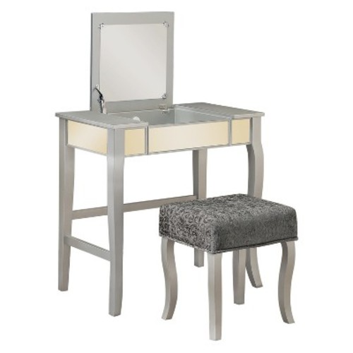 Linon Harper Vanity Set including Mirror and Stool, Silver