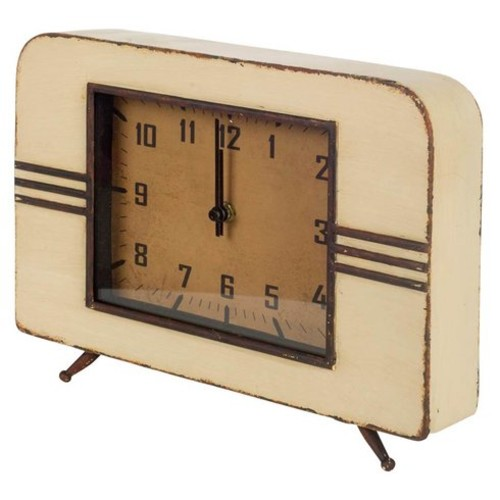 Tan Metal Tabletop Clock