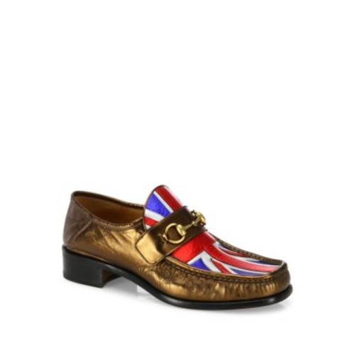 GUCCI Vegas Union Jack Metallic Leather Loafers