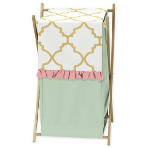 Sweet Jojo Designs Ava Laundry Hamper in Green/Pink