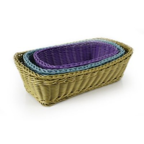 Neoflam Plasket 3-Piece Poly-Wicker Rectangle Basket Set; Multi